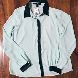 Forever 21 Teal Blouse Collar